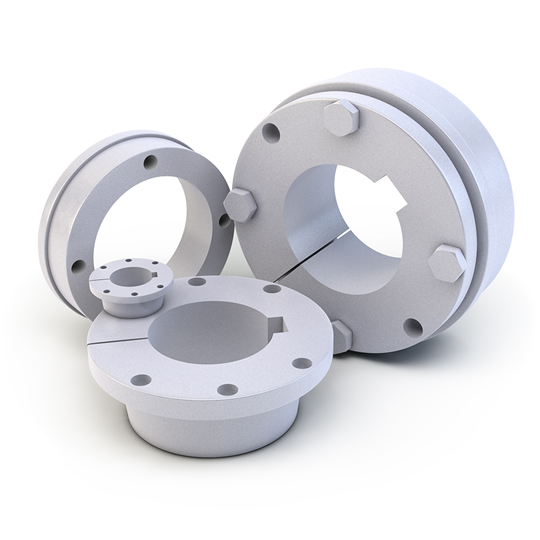 round bushings for pulleys and shafts with mounting holes for pulley attachment